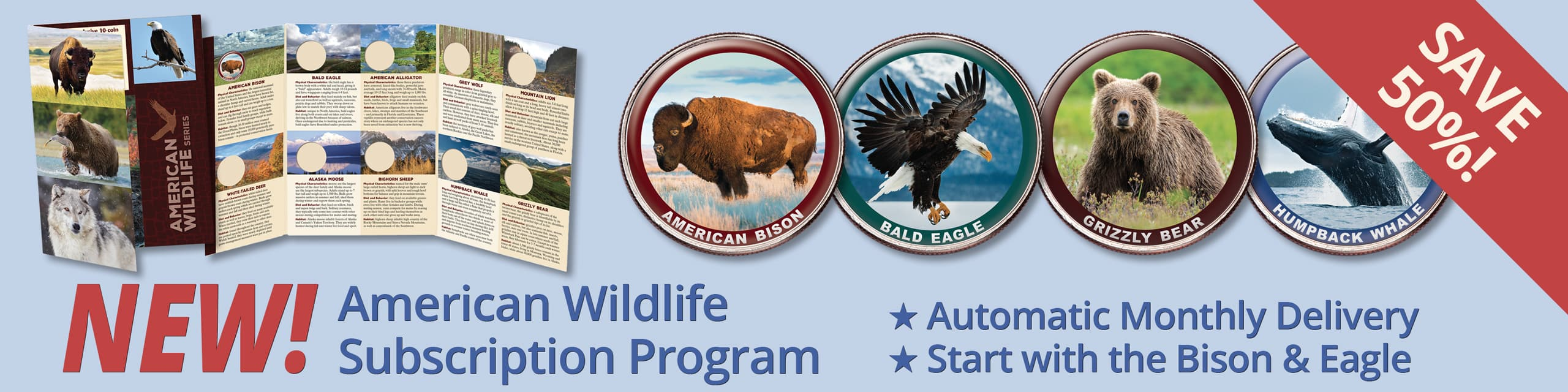 NEW! American Wildlife Subscription Program - Automatic Monthly Delivery - Start with the Bison and Eagle