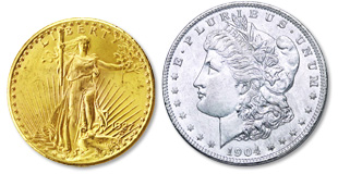 [photo: America's most popular silver and gold coins, the Morgan Silver Dollar of 1878-1921 and the Saint‑Gaudens $20 Gold Double Eagle of 1907-1933]