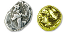 [photo: Lydia Silver Drachm, 480-460 B.C.; Electrum 1/8 Stater from Phokaia, 480-400 B.C.]