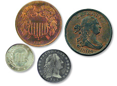 [photo: From top right: the U.S. Half Cent, Two-Cent Piece, Silver Three-Cent Piece and Half Dime]