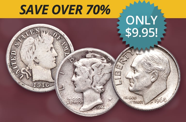 Save over 70% on a historic End-of-Era Silver Dime Set with Littleton's U.S. Dime Collection