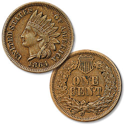 1864 Indian Head Cent, Variety 3