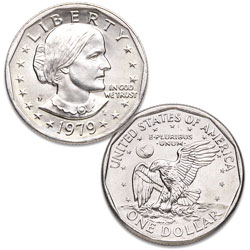 1979-P Susan B. Anthony Dollar, Narrow Rim (Far Date)