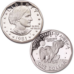 1981-S Susan B. Anthony Dollar, Clear S