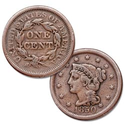 1850 Braided Hair Large Cent