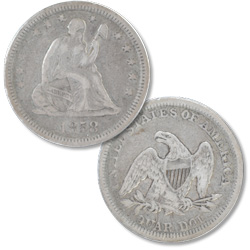 1858 Liberty Seated Silver Quarter