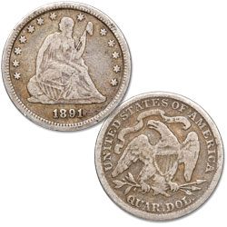 1891 Liberty Seated Quarter