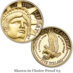 1986-W Statue of Liberty Gold $5