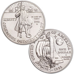 1992-D Christopher Columbus Quincentenary Silver Dollar