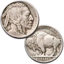 1913-S Buffalo Nickel, Variety 2, FIVE CENTS in Recess