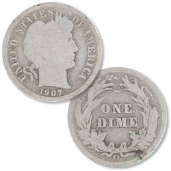 1907-D Barber Silver Dime