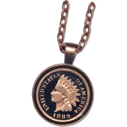 Indian Head Cent Necklace with Black Enamel
