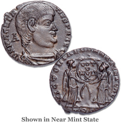 A.D. 350-353 Magnentius Bronze, Bridgnorth Shropshire Hoard, Two Victories Reverse