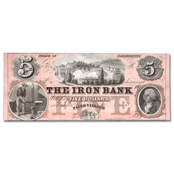1850s-1860s $5 Falls Village, Connecticut Iron Bank