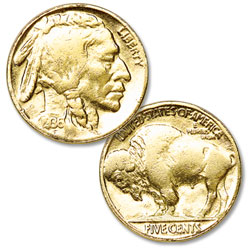 Gold-Plated Buffalo Nickel