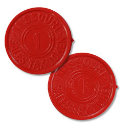 Missouri 1 Mill Red Plastic State Tax Token
