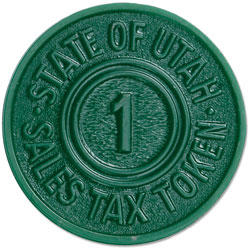 Utah 1 Mill Green Plastic State Tax Token