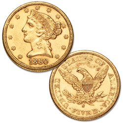 "1880-1905 ""S"" Mint Liberty Head Gold $5 Half Eagle"