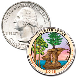 2018 Colorized Pictured Rocks National Lakeshore Quarter