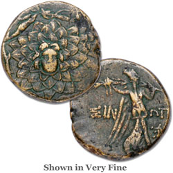 120-63 B.C. Black Sea Region Bronze Coin, Gorgon-Medusa/Nike
