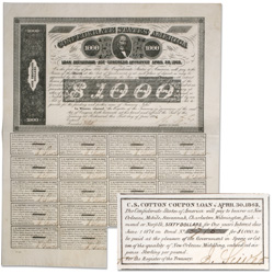 1863 Confederate States of America $1000 Bond, James A. Seddon