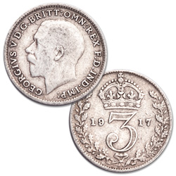 1911-1920 Great Britain Silver 3 Pence