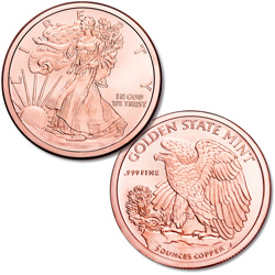Liberty Walking 5 oz. Copper Round