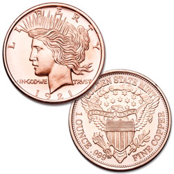 Peace Dollar 1 oz. Copper Round