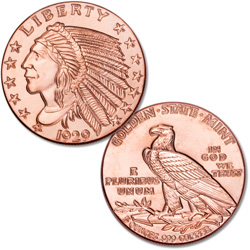 5 oz. Indian Head Copper Round