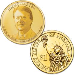 "Colorized ""Modern Presidents"" Dollar with Golden Hue - Jimmy Carter"