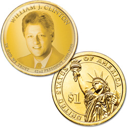 "Colorized ""Modern Presidents"" Dollar with Golden Hue - William ""Bill"" Clinton"