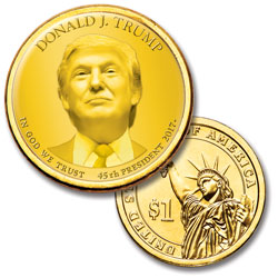 "Colorized ""Modern Presidents"" Dollar with Golden Hue - Donald Trump"