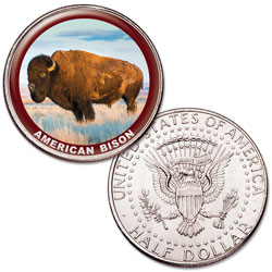 American Bison Colorized Kennedy Half Dollar