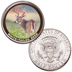 White-tailed Deer Colorized Kennedy Half Dollar
