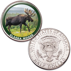 Alaska Moose Colorized Kennedy Half Dollar