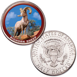 Bighorn Sheep Colorized Kennedy Half Dollar