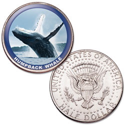 Humpback Whale Colorized Kennedy Half Dollar