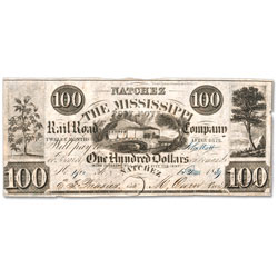 1839 $100 Natchez, Mississippi Railroad Company Note