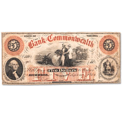 1858-1861 Bank of the Commonwealth $5 Note - Richmond, Virginia
