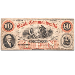 1858-1861 Bank of the Commonwealth $10 Note - Richmond, Virginia
