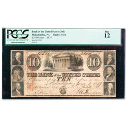 1836-1839 $10 Bank of the United States (3rd) Note, Philadelphia, PA