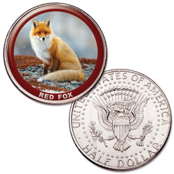 Red Fox Colorized Kennedy Half Dollar