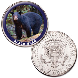 Black Bear Colorized Kennedy Half Dollar