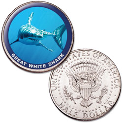 Great White Shark Colorized Kennedy Half Dollar