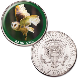 Barn Owl Colorized Kennedy Half Dollar