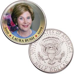 Colorized First Spouses of America Half Dollar - Laura Bush