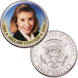 Colorized First Spouses of America Half Dollar - Hillary Clinton
