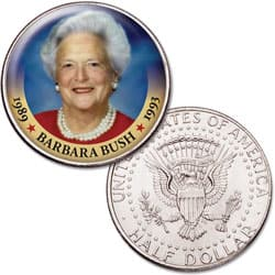 Colorized First Spouses of America Half Dollar - Barbara Bush