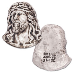3 oz. Hand-Poured Silver Bust of Jesus