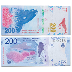 2016 Argentina 200 Pesos Whale Note